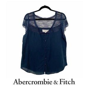 Abercrombie & Fitch Button Up Cotton & Lace Blouse